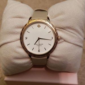 kate spade metro slim taupe leather watch